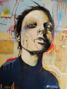 by Russ Mills Painting Collage, Arts Ed, Gcse Art, Portrait Illustration, Fantastic Art, Cool Artwork, Art Forms, Drawings, Portrait Paintings