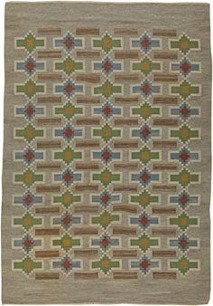 Vintage Rugs: Vintage Rug Swedish Flat weave for Scandinavian scandi interior decor, Scandinavian living room Vintage Swedish Flat Weave Rug by Judith Johansson