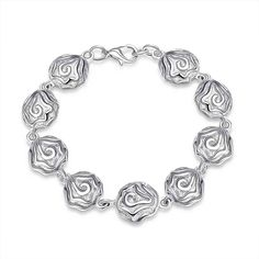 silver plated jewelry bracelet fine fashion rose flower bracelet and retail SMTH135
