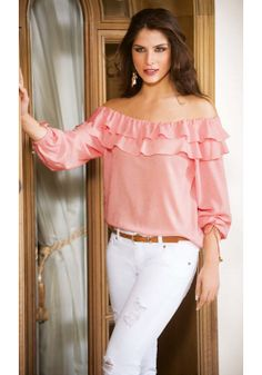 Blusa Pink Outfits, Casual Outfits, Fashion Outfits, Womens Fashion, Blouse Styles, Blouse Designs, Red Blouses, Blouses For Women, Blouse Online