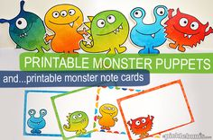 Free printable monster puppets, plus printable monster note cards!