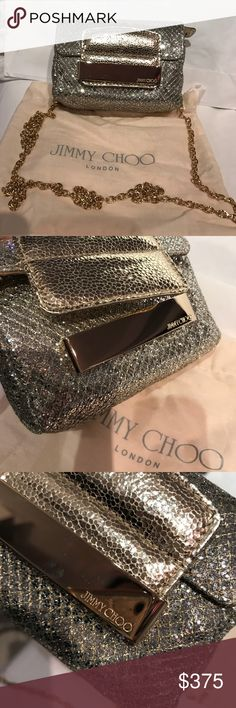 Jimmy Choo Metallic Glitter Mini Crossbody Bag NWT. Never used! Jimmy Choo Glitter Dress bag w/ Gold remove-able chain to wear as a clutch or as a makeup bag for your bigger handbag. Champagne glitter with gold leather and gold bar enclosure. Check out my matching glitter peep toe heels! I offer a Bundle discount for two or more items and this is a perfect set 😃 Duster and authenticity card included. Jimmy Choo Bags Mini Bags