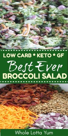 An easy broccoli salad recipe that's healthy and made without sugar. You'll love this low carb and keto broccoli salad recipe for lunch meal prep, a BBQ or as a healthy holiday side dish recipe. #keto #ketorecipes #lowcarb #healthyrecipes #salads