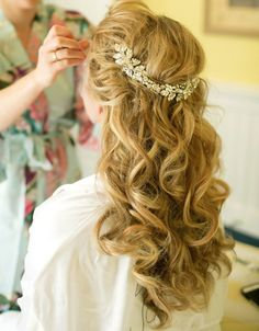 bridal hairstyle down do with jeweled halo