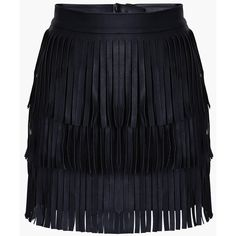 Black Faux Leather Fringed Mini Skirt ($49) ❤ liked on Polyvore featuring skirts, mini skirts, bottoms, saias, black, fringe skirt, short fringe skirt, vegan leather mini skirt, fringe mini skirt and short skirts
