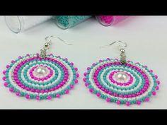 ARETES DE MOSTACILLAS/ PUNTADA LADRILLO/BRICK STITCH /PUNTADA LADRILLO EN CIRCULAR - YouTube Brick Stitch Earrings, Seed Bead Earrings, Beaded Earrings, Beaded Jewelry, Crochet Earrings, Handmade Jewelry, Earring Crafts, Bead Crafts, Jewelry Crafts
