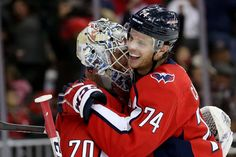 WASHINGTON, DC - NOVEMBER John Carlson of the Washington Capitals and Braden Holtby of the Washington Capitals celebrate after defeating the Detroit Red Wings at Capital One Arena on November 2018 in Washington, DC. (Photo by Will Newton/Getty Images) Washington Capitals Hockey, Washington Dc, Braden Holtby, Capital One, Nhl Games, November 23, Detroit Red Wings, My Man, Champs