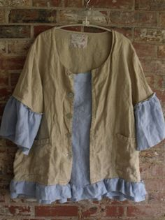 Linen Tunic/Deconstructed/Patched/Ruffled/Plus by SheerFab on Etsy