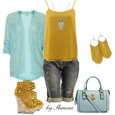 """""""baby blue and marigold"""" by shauna-rogers on Polyvore"""