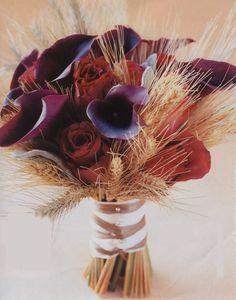 Bridal bouquet, love the wheat grass. Add deep red honeycomb dahlias too