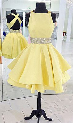 only 99$ Prom dresses short, yellow vintage prom dress, 2016 handmade sleeveless party dress for teens,yellow homecoming dresses,beaded homecoming dresses,backless evening dresses,cute party dresses,short evening dresses