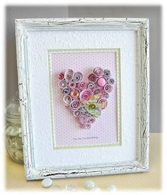 Altered heart (make with lots of paper flowers and quilling) Paper Flower Art, Paper Roses, Arts And Crafts, Paper Crafts, Diy Crafts, Frame Crafts, Decoration St Valentin, Rolled Paper Art, Quilled Creations