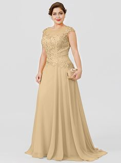 A-Line Illusion Neck Sweep / Brush Train Chiffon / Beaded Lace Short Sleeve Plus Size / Elegant Mother of the Bride Dress with Bow(s) / Pleats 2020 2020 - ₪ Evening Dresses Plus Size, Plus Size Dresses, Mom Dress, Dress With Bow, Beaded Chiffon, Beaded Lace, Mermaid Prom Dresses Lace, Vestidos Plus Size, Mother Of The Bride Gown