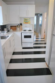 Laundry Room Floor (Like the twist on black and white vinyl tile)