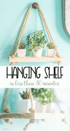 DIY Rope Hanging Shelf | easy home decor in under 30 minutes | wall shelf for extra storage #hangingshelf #shelves #diy #DIYHomeDecorWood