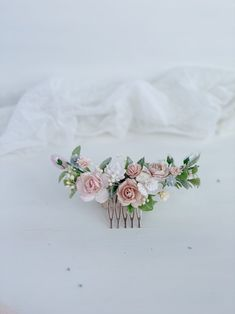 Excited to share this item from my shop: Flower hair comb, Blush Pink flower hair clip, Flower hair piece Wedding Flower Headpiece, Wedding Hair Flowers, Bridal Flowers, Flowers In Hair, Pink Green Wedding, Pink Wedding Theme, Wedding Themes, Wedding Tips, Flower Hair Pieces