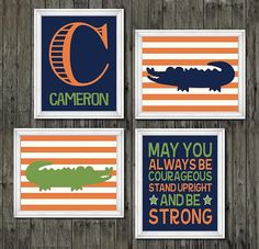 Alligator nursery wall decor orange navy blue by customedgestudio