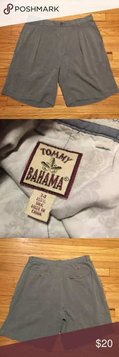 Tommy Bahama mens silk shorts - sz 34 Tommy Bahama mens silk shorts - sz 34. Waist - 17 inches. Rise - 12 inches. Length - 19.5 inches. Inseam - 8.5 inches. Good condition Tommy Bahama Shorts