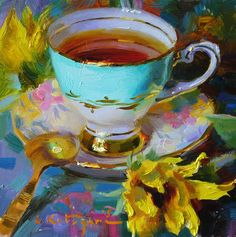 [CasaGiardino] ♛ DPW Fine Art Friendly Auctions - Sky Cup and Sunflower by Elena Katsyura