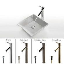 "View the Kraus C-KCV-125-1002 16-4/5"" Ceramic Vessel Bathroom Sink With Vessel Faucet and Pop-Up Drain at FaucetDirect.com."