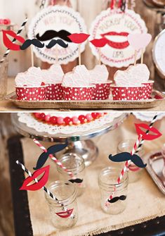 Crafty Mustache Valentines Day Party   Cute Cupcake Toppers and Straws