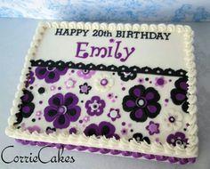 Cute sheet cake from Corrie Cakes Sheet Cake Designs, Cupcake Cake Designs, Cupcakes, Cupcake Cakes, Sweet 16 Cakes, Big Cakes, Cookie Cake Birthday, Birthday Cakes, 16th Birthday