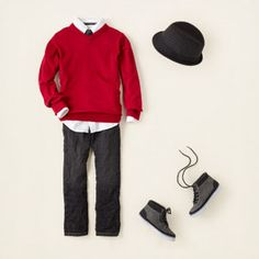 cuuuuute christmas outfit for aidan!! maybe have him wear his black high top chucks :) soo handsome