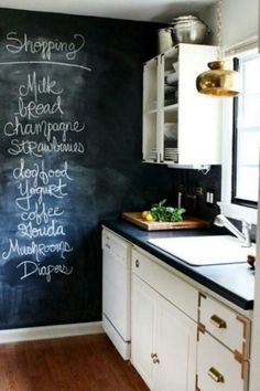 A chalkboard wall in your kitchen is a great place to write your grocery list. If I ever get my own apartment or house, I will totally put a chalkboard wall in my kitchen! Such a good idea! Küchen Design, House Design, Design Ideas, Nest Design, Design Blogs, Floor Design, Layout Design, Cocina Office, Kitchen Pendants