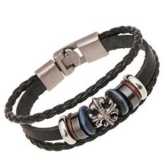 K-DESIGN Genuine Leather Charm Bracelet Men Cowhide Braided Bracelets Handmade Woven Male multilayer Bangles Braclet Jewelry by K-DESIGN -- Awesome products selected by Anna Churchill