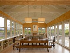 eclectic dining room by Nick Noyes Architecture - Plywood walls Plywood Walls, Plywood House, Plywood Ceiling, Plywood Interior, Pine Plywood, Pine Floors, Dining Room Design, Modern House Design, Wood Design