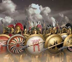 This picture depicts the Spartan warriors during the Peloponnesian War. It was fought against Athens after the Greek empire started to divide once the conflict with Persia ended.