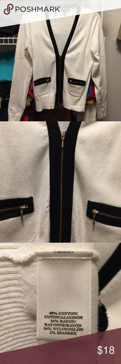 Ann Taylor | Light Sweater Cardigan Navy and off-white. Gold zippers. Front pockets with zippers. Worn once. Ann Taylor Sweaters Cardigans