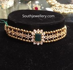 Jewelry OFF! 22 Carat gold simple choker studded with cz stones and emerald by Premraj Shantilal jewellers. light weight choker designs for kids Gold Earrings Designs, Gold Jewellery Design, Gold Designs, Necklace Designs, Kids Gold Jewellery, Gold Earrings For Kids, Jhumka Designs, Kids Jewelry, Gold Chocker Necklace