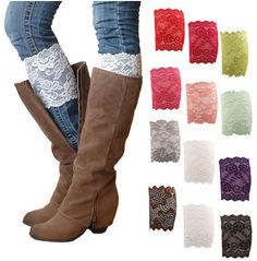 These will look great with so many different outfits! lace boot leg cuff wrap