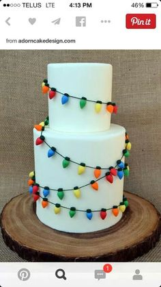 Edible Christmas bulbs wrapped around a white cake