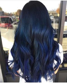 Dark blue hair is the latest hair color trend that is set to be big in Choose from a deep blue-black to luxurious navy blue hair & to metallic steel blue. Hair Color Blue, Cool Hair Color, Hair Black Blue, Dark Hair With Blue, Black To Blue Ombre, Blue Tinted Hair, Midnight Blue Hair Dye, Smokey Blue Hair, Hair Color Ideas For Dark Hair