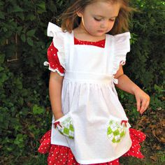 Storybook Pinafore - Vintage style Pinafore Dress Pattern for Girls 2 to 10 done up Strawberry Shortcake costume style!