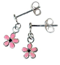 $13.59 with FREE SHIPPING! PINK & BLACK STERLING SILVER FLOWER POST EARRINGS, NICKEL FREE, AGES 6 TO 13