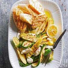 This rustic salad couldn't be any simpler. Arrange sliced zucchini and fresh mozzarella on a platter, sprinkle with dill, then finish off with a drizzle of cheery lemon juice. Serve the salad with slices of toasted bread.