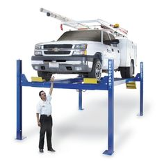 """Bendpak HD-14TL 14,000 Capacity Tall Lift/ 82"""" Rise 4 Post Lift The industrial-quality HD-14TL is a full-sized lifting force designed specifically for parking higher-profile vehicles beneath the raised platform. It's just another way that BendPak tailors our lifts to suit your needs. With this four-post lift, you can push 14,000 pounds worth of automobile into the air without breaking a sweat. This model is available with optional drive-thru ramps, dip-trays and 7,000-lb. capacity rolling jacks Garage Car Lift, Garage Shop, Car Lifter, Four Post Lift, Lifted Cars, Batmobile, Garage Ideas, Car Parking, Autos"""