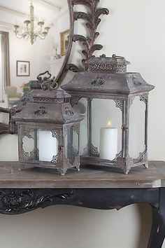 Rustic Vintage Furniture Metal Lanterns - Set of 2 - Brown