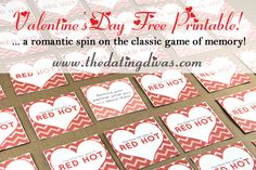 Create some sparks with your sweetheart this Valentine's Day with a free printable that puts a romantic spin on the classic game of Memory. www.TheDatingDiva... #DIY #maritalintimacy #freeprintable #datingyourspouse