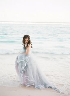 'Something Blue' wedding dress: http://www.stylemepretty.com/2014/12/16/bali-beach-engagement-session/ | Photography: Jemma Keech - http://jemmakeech.com/