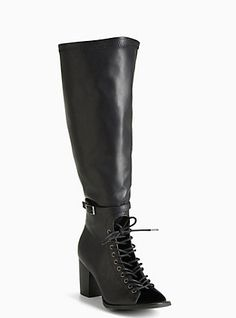 Plus Size Lace Up Peep Toe Block Heel Boots (Wide Width & Wide Calf), BLACK
