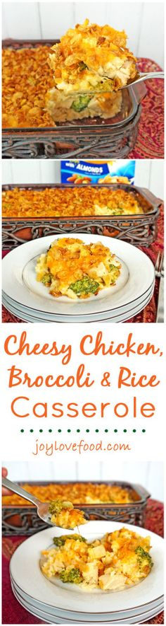 Cheesy Chicken, Broccoli, and Rice Casserole - a delicious, cheesy casserole with a crunchy cereal and almond topping. This recipe is perfect for an easy dinner that the whole family will enjoy.