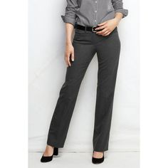 Lands' End Women's Tall Wear to Work Trouser Pants ($89) ❤ liked on Polyvore featuring pants, dark gray, slim pants, slim fit trousers, lands' end, lands end pants and wet look pants
