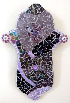 Purple Handmade Hamsa Original Wall Art Stained by Sigalitarts