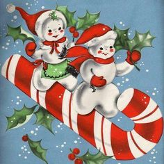 Snow-people riding candy cane
