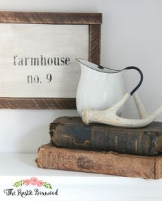 Rustic, neutral accessories for the home that can be used throughout all seasons | Guest Bathroom Makeover Reveal | The Rustic Boxwood | vintage, diy, progress, white, enamelware, antique, old, old books, farmhouse no. 9, wooden sign, rustic, farmhouse style, antler, vignette