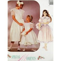 Amazon.com: OOP McCall's Pattern 6860. Girls Szs 10;12;14 Special Moments Dress: Arts, Crafts & Sewing